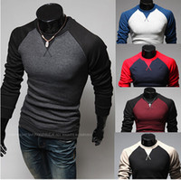 Wholesale 5colors Clothing - New autumn fashion Mens Long Sleeve T-Shirt fashion raglan sleeved shirts design man necessary self-cultivation clothes 5colors 4sizes LLK18