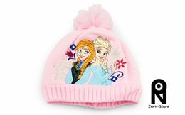 Wholesale Knitted Girls Cloche - Zorn Store- Girls christmas gifts Pink frozen hats ,Anna Elsa Children knit Accessories kids girl warmth retention cashmere hats Wool cap