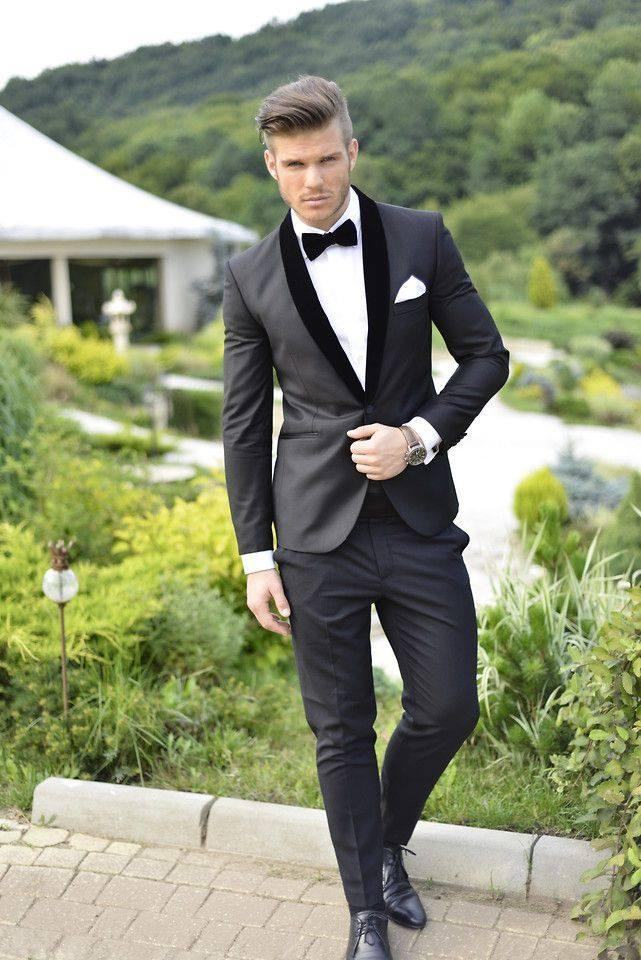 2014 Custom Made Groom Tuxedos Charcoal Grey Best Shawl Black Collar Groomsman Men Wedding Suits Bridegroom Business Suit AA01 Tailcaot