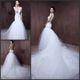 Mermaid Wedding Dresses With Long Tail 2015 Sheer Straps V Neck