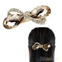 Wholesale Hair Clips Clamp Rhinestone - Wholesale-OP-New Crystal Rhinestone Oval Bowknot Barrettes Hair accessories Clip Clamp Hairpin Headwear
