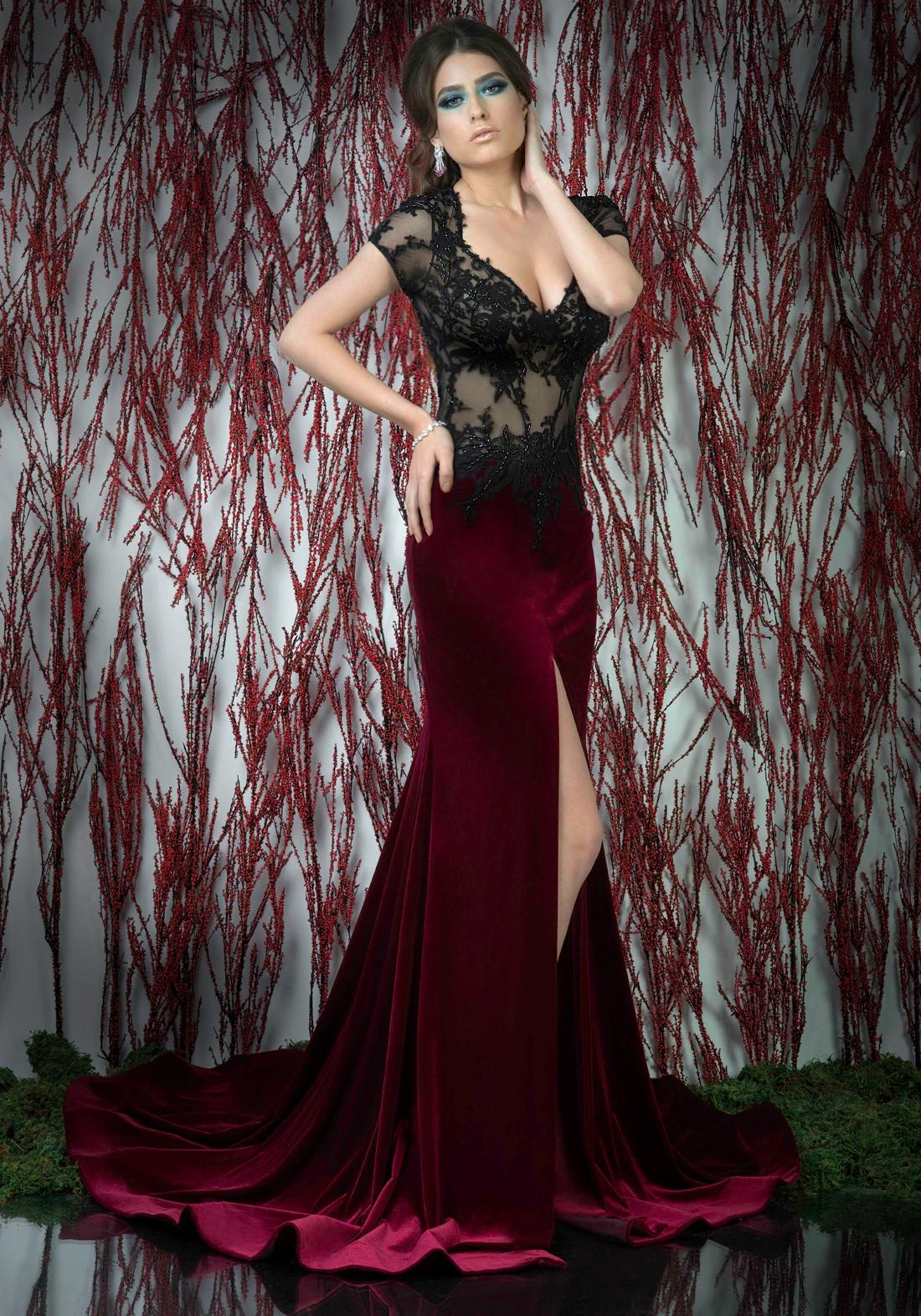 Burgundy Sheer Corset Formal Evening Dress Short Sleeve Appliques ...