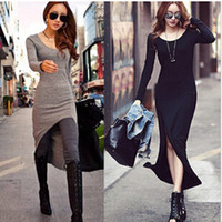 Wholesale Long Sleeve Korean Maxi Dress - 2017 New Fall Sexy Long Maxi Dress Fashion Women Runway Dresses skirt Korean Girls Cocktail Dress Long Sleeve Ladies Party Dresses E61