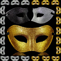 demi-masque de célébrité achat en gros de-Classique Couleur Masques De Fête De Noël Noir / Or / Argent Moitié Visage Celebrity Masque De Mode Costume Masque Festive Décoration 20 pcs / lot SD223