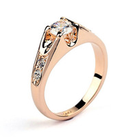 Wholesale 18k Rose Gold Filled - Elegant CZ Diamond Wedding Rings Silver Color Platinum Rose Gold Plated Cubic Zircon Engagement Jewelry For Men And Women Wholesale DFR249