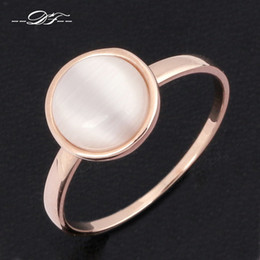 Wholesale Imitation Stone Wholesale - Concise Cat's Eye Stone Ring 18K Gold Plated Imitation Gemstones Brand Jewelry For Women Gift anel aneis joias Wholesale DFR153