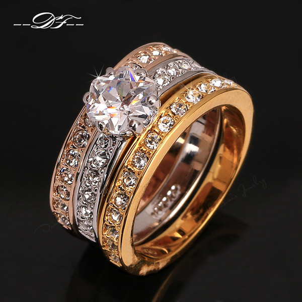 top popular Unique 3 Color Rounds CZ Diamond Engagement Rings Sets Wholesale Silver Color 18K Rose Gold Plated Crystal Wedding Jewelry For Women DFR107 2019