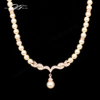 Wholesale Luxury Beads Wholesale - Luxury Wedding Choker Necklaces & Pendants 18K Rose Gold Plated CZ Diamond Fashion Imitation Pearl Beads Jewelry For Women Girls Gift DFN080