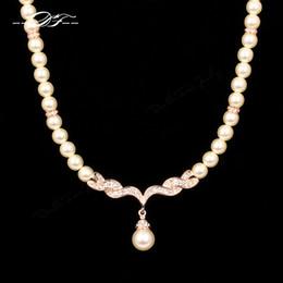 Wholesale Wedding Pearl Diamond Necklaces - Luxury Wedding Choker Necklaces & Pendants 18K Rose Gold Plated CZ Diamond Fashion Imitation Pearl Beads Jewelry For Women Girls Gift DFN080