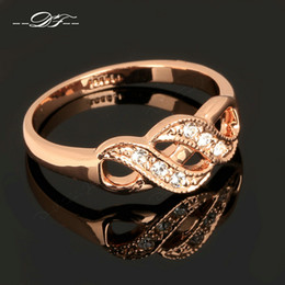 Wholesale Gold Diamond Wedding Sets - Creepers CZ Diamond Inifity Rings 18K Rose Gold Plated Fashion Brand High Quality Crystal Wedding Jewelry For Women Wholesale DFR334