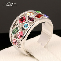 Wholesale Gold Gemstone Jewellery - Luxury Multicolor Imitation Gemstone Finger Rings 18K White Gold Plated Fashion Brand Crystal Jewellery Jewelry For Women DFR075