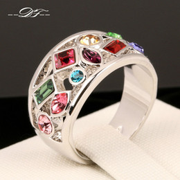 Wholesale Gemstone Ring Set - Luxury Multicolor Imitation Gemstone Finger Rings 18K White Gold Plated Fashion Brand Crystal Jewellery Jewelry For Women DFR075