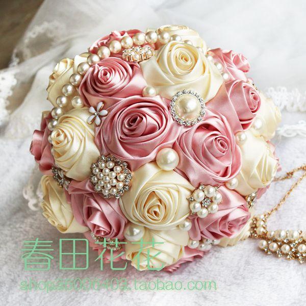 Manual Custom Theme Wedding Bouquet Satin Ribbon Rose Bride Bouquet ...