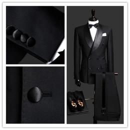 2020 Yüksek Kalite Özelleştirilmiş Siyah Kruvaze Iş Erkek Takım Elbise Tasarım Erkek Takım Elbise (Ceket + Pantolon + Kravat + yelek) Özel takım elbise