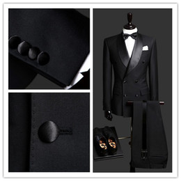 Wholesale Light Mens Suits - 2016 High Quality Customized Black Double Breasted Business Mens Suits Design Male Suits (Jacket+Pants+Tie+Vest) Custom suit