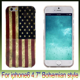 "Wholesale Vintage Style Iphone Cases - Bohemian style Case For Iphone 6 plus 4.7"" 5.5"" Vintage American Flag shell mobile phone shell TPU IMD cover case"