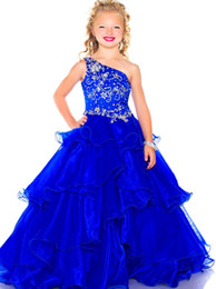 Wholesale Holiday Princess Dresses - Pretty Blue One-Shoulder Beads Flower Girl Dresses Girls' Pageant Dresses Dressy Dress Holidays Dress Custom Size 2 4 6 8 10 12 FF801023
