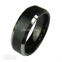 Commercio all'ingrosso - Mens carburo di tungsteno anello nero spazzolato Dimensioni Wedding Band 8-12