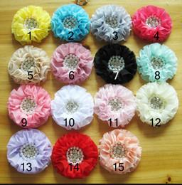 Wholesale chiffon flowers pearl diy - New Baby headband Accessories Pearl Rhinestone combination Chiffon flower cute kid's headwear Accessories DIY Handmade accessories 15 colors