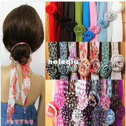 Wholesale Womens Headwear - wholesale chiffon floral scarf headband headwear multipurpose womens SCARF scarves handbag accessorry Muffle Scarf DIY scarf headwear