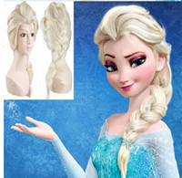 Wholesale Anna Cosplay - 2014 hot sale fashion Synthetic Cosplay hair long Curly hair wigs Frozen Snow Queen Anna Elsa Long Braid Anime Wigs