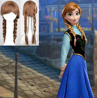 Wholesale Braided Ponytail Wig - New Cartoon Movie Frozen Snow Wig Queen Anna Elsa Wig Long Braid Cosplay Anime Wig ponytail Classic Halloween Hair