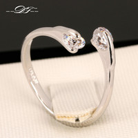 Wholesale Gold Double Rings - Classic Double CZ Diamond Rock Finger Rings 18K White Gold Plated Fashion Brand Crystal Jewelry For Women Wholesale DFR008