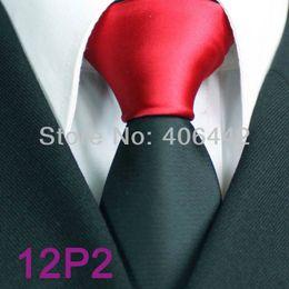 Wholesale Men Red Skinny Tie - YIBEI Coachella ties Mens SKINNY Tie Red Knot Contrast Black Solid Color Two Tone Woven Necktie SLIM Tie Narrow Tie For Men