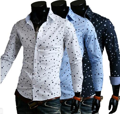 2017 Mens Fashion Slim Fit Tee Shirts Dress Shirts Fashion Star ...