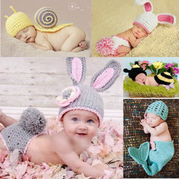 Wholesale Green Infant Diapers - Newborn Baby Crochet Hats Diaper Cover Costume Caps Set DEG Animal Infant Beanie Outfits Knit Photography Props DEG