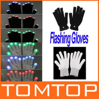 Un Doigt Pas Cher-Wholesale-OP-Funny Gift Une paire de 7 Mode LED Gants Rave Light Finger Lighting Glow Clignotant Gants freeshipping Dropshipping Wholesale