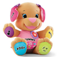 Wholesale Dog Laugh Learn - Wholesale-OP-FP Laugh & Learn Love to Play Puppy baby plush English musical toy - Pink Dog