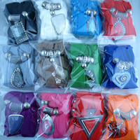 Wholesale Cross Charm Scarves - 12 Designs Mix Alloy Pendant Scarf Jewelry Beads Scarves Necklace Scarfs With Shiny Resin Pendants Nikle-free