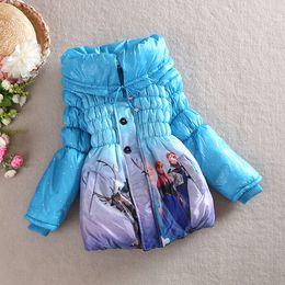 Wholesale Girl Cardigan Blue - 2014 New Autumn Winter Anna&Elsa girls down coat outwear Children's girl's zip cardigan down coat outwear C001