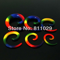 Wholesale Mixed Logo Tapers - Wholesale-OP-Hot wholesale Charm 12pcs mixed 6 gauges rainbow logo ear expander spiral acrylic ear taper free shipping