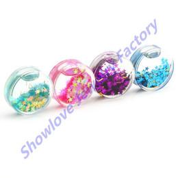 Wholesale Ear Gauges Glitter - Wholesale-OP-Showlove 4pair Glitter Star Liquids Ear Tunnel Plug Gauge Kit,Double Flared Plugs Piercing Expander Jewelry