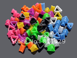 Wholesale Triangle Flesh Tunnel - Wholesale-OP-2012 Hot fashion piercing jewelry 24pcs mixed 12 sizes mixed colors flesh tunnel triangle acrylic Ear Gauges free shipping