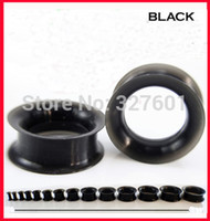 Wholesale Plug Double Flare - Wholesale-OP-free shipping F27 wholesale 48pcs lot mix 12 size body jewelry black silicone flesh tunnel ear expander double flared plug