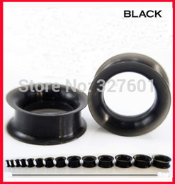 Wholesale Flesh Silicone Plugs - Wholesale-OP-free shipping F27 wholesale 48pcs lot mix 12 size body jewelry black silicone flesh tunnel ear expander double flared plug