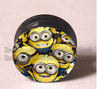 Wholesale Despicable Plug - Wholesale-OP-character Despicable me ear plug tunnel jewelry mixing sizes body jewelry PP
