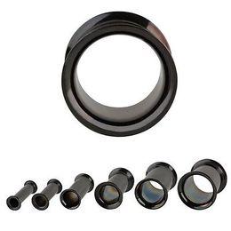 Wholesale 4mm Ear Tunnels - Wholesale-OP-6pcs 4MM-14MM Black Screw-on hollow Flesh Tunnels Ear and Plugs Rings piercing earrings sexy cheap stainless steel body jewelry