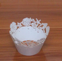 Wholesale White Paper Muffin Cups - free shipping 60pcs White Beach Seashell laser cut lace cupcake wrapper muffin paper cup cake liner holder for wedding cake,birthday party