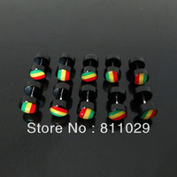 Others black rasta - OP illusion reggae cheaters mm black rasta color print fake plugs