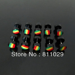 Wholesale 8mm Plugs Tunnels - Wholesale-OP-free shipping illusion reggae cheaters 10pcs 1.2*6*8 8mm black rasta color print fake plugs