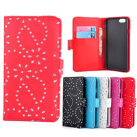 Wholesale Diamond Flower Leather Case Iphone - For iPhone 6 6S New Wallet Flower Diamond Bling PU Leather Case Cover With Credit Card Holders for iphone6 4.7 Inch