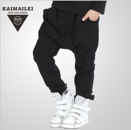 Wholesale Children Boy Pants Pocket - 2016 New Arrival Children Casual Harem Pants Autumn Winter Kids Pants Fashion Pure Black Boy's Trouser Street Haroun Pant 100-150 GX924