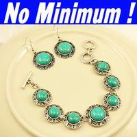Wholesale Earings Bracelets - Wholesale-OP-Blue jewerly sets jewellry sets of jewelry Natural turquoise charm bracelets & bangles drop earings designer women 2013 brtf11