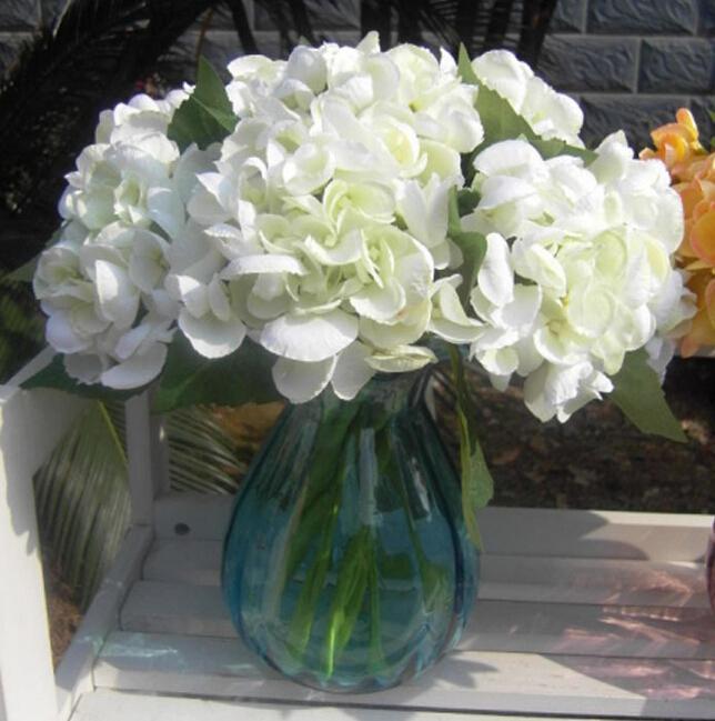 새로운 도착 30CM 긴 유럽 복고풍 스타일 실크 인공 수국 꽃 가짜 꽃 홈 웨딩 파티 장식