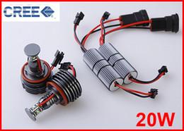 Wholesale Bmw E92 Light Kit - 1 PAIR H8 20W CREE 4-LED*5w Angel Marker Eyes Kits Canbus Error Free Halo Bulb Headlight Xenon White For BMW E90 E92 M3 E60 E70 X5 E71 X6