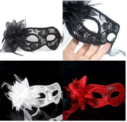 Venetian Style Lace Fabric Cardin Dance Party Mask Masquerade Halloween Exquisite Half Face Mysterious Princess Lady Masks With Flower